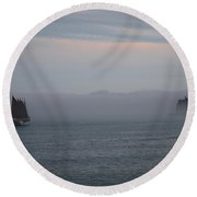 Round Beach Towel featuring the photograph Sailing Away On Margaret Todd by Living Color Photography Lorraine Lynch
