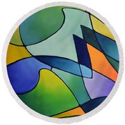Sailing Away, Canvas One Round Beach Towel by Sally Trace
