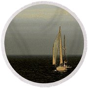 Round Beach Towel featuring the photograph Sailing by Ben and Raisa Gertsberg