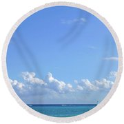 Round Beach Towel featuring the photograph Sailing Blue Seas by Francesca Mackenney