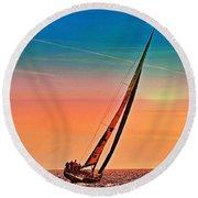 Sailing Boat Nautical 3 Round Beach Towel