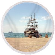 Sailing Boat With Veils In Horbour Round Beach Towel