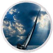 Sailing Boats At Sea , Photography , Round Beach Towel
