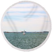 Sailing Boats In Summer Round Beach Towel