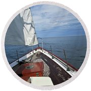 Sailing Bow View Round Beach Towel