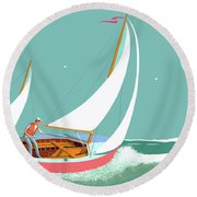 Moonlight Sail Round Beach Towel