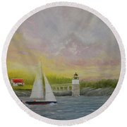 Sailing By Ram Island Round Beach Towel