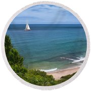 Round Beach Towel featuring the photograph Smooth Sailing by Robin-Lee Vieira