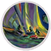 Round Beach Towel featuring the digital art Sailing by Darren Cannell