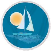 Sailing Day Round Beach Towel