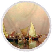 Sailing Fishermen Boats In Naples Round Beach Towel