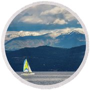 Sailing Flathead Lake Round Beach Towel