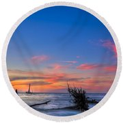 Sailing Hazard Round Beach Towel