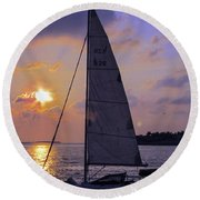 Sailing Home Sunset In Key West Round Beach Towel