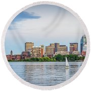 Sailing In Back Bay Round Beach Towel by Mike Ste Marie