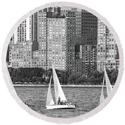 Sailing In New York Harbor No. 3-1 Round Beach Towel