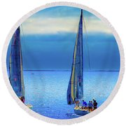 Sailing In The Blue Round Beach Towel by Joseph Hollingsworth