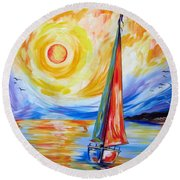 Sailing In The Hot Summer Sunset Round Beach Towel