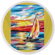 Sailing In The Indian Ocean Summer  Round Beach Towel