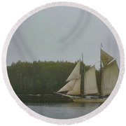 Sailing In The Mist Round Beach Towel