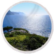 Sailing In The Vastness Round Beach Towel