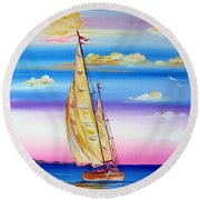 Sailing Into A Dreamy Sunset Round Beach Towel