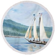 Sailing Into Castine Harbor Round Beach Towel