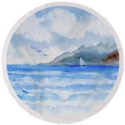 Sailing Into Moorea Round Beach Towel