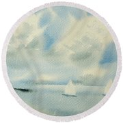 Sailing Into A Calm Anchorage Round Beach Towel