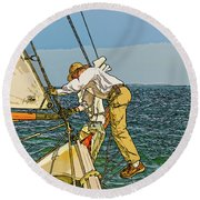 Sailing-not For Wimps-abstract Painting Round Beach Towel