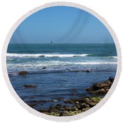 Sailing Off The Coast At Narragansett Pier Round Beach Towel