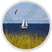 Sailing On Long Beach Island Round Beach Towel