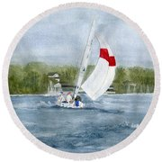 Round Beach Towel featuring the painting Sailing On Niagara River by Melly Terpening