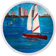 Sailing On The Charles Round Beach Towel