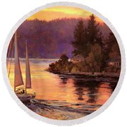 Sailing On The Sound Round Beach Towel