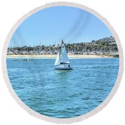 Sailing Out Of The Harbor Round Beach Towel