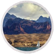 Sailing Past The Sleeping Dragon Round Beach Towel