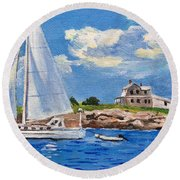 Sailing Past Wood Island Lighthouse Round Beach Towel