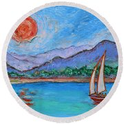 Round Beach Towel featuring the painting Sailing Red Sun by Xueling Zou