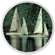 Round Beach Towel featuring the photograph Sailing Reflections by David Patterson