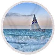 Sailing Santa Cruz Round Beach Towel