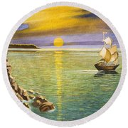 Sailing Ship And Castle Round Beach Towel