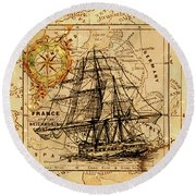 Sailing Ship Map Round Beach Towel