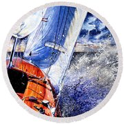 Round Beach Towel featuring the painting Sailing Souls by Hanne Lore Koehler