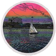 Sailing South Lake Union Round Beach Towel