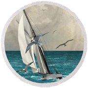 Sailing Southern Seas Round Beach Towel