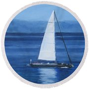 Sailing The Blues Round Beach Towel