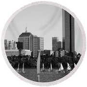 Sailing The Charles River Boston Ma Black And White Round Beach Towel