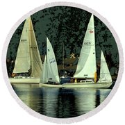 Sailing The Harbor Round Beach Towel