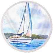 Sailing The Islands 2 Round Beach Towel